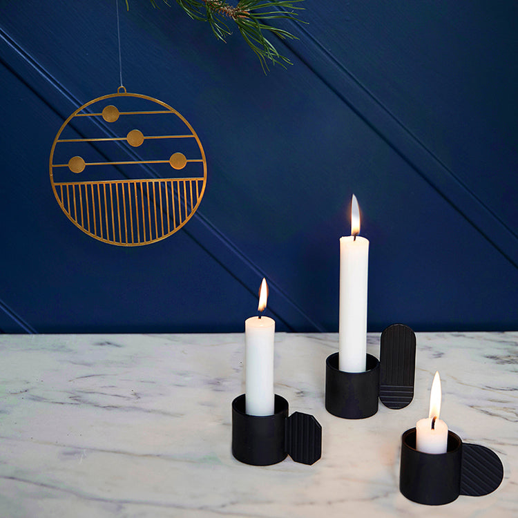 Art Candleholder in Hexagon Black