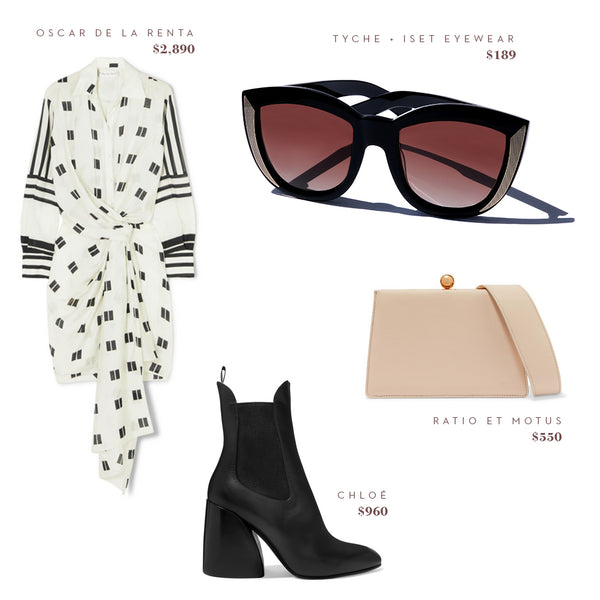 Fashion Style Guide - Tyche + Iset Eyewear, Ratio Et Motus Bag, Oscar de la Renta Dress, Chloé Shoes