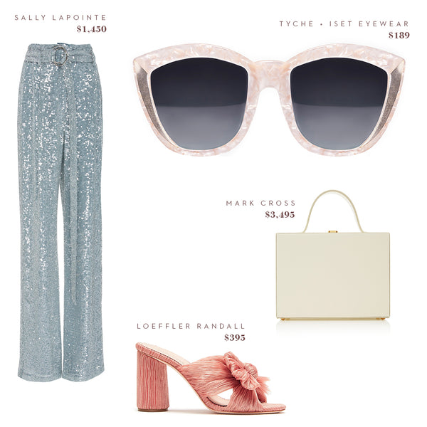 Fashion Style Guide - Oversized Round Cat Eye Sunglasses by Tyche + Iset Eyewear, Sally LaPointe Pants, Loeffler Randall Shoes Heels, Mark Cross Bag Purse