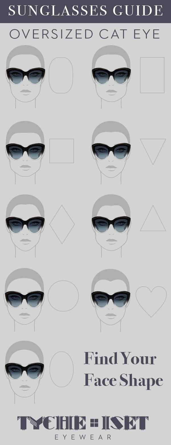Sunglasses Face Shape Style Guide: Oversized Cat Eye Sunglasses. Find Your Face Shape!