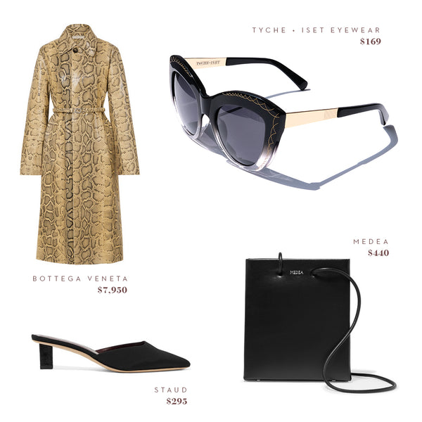 Fashion Style Guide - Casablanca in Slate by Tyche + Iset Eyewear, Bottega Veneta Coat, Medea Purse, Staud Shoes