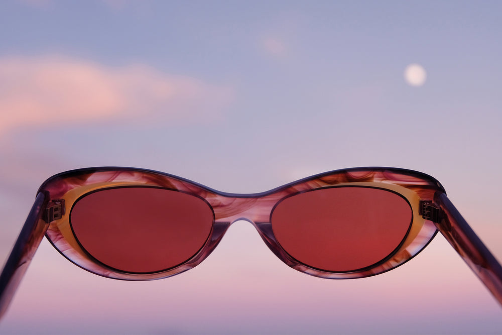 LOOK TO THE SKIES: OCEANA IN HONEY SUNSET, PINK CAT EYE SUNGLASSES