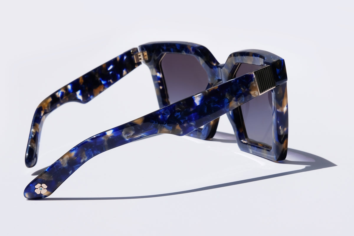 Tyche + Iset Eyewear -- Las Islas in Midnight Marble (Premium-Quality Blue Oversized Square Sunglasses)
