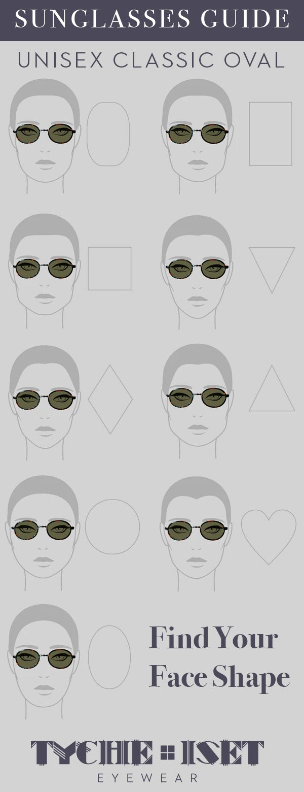 Sunglasses Face Shape Style Guide: Unisex Classic Oval Sunglasses. Find Your Face Shape!