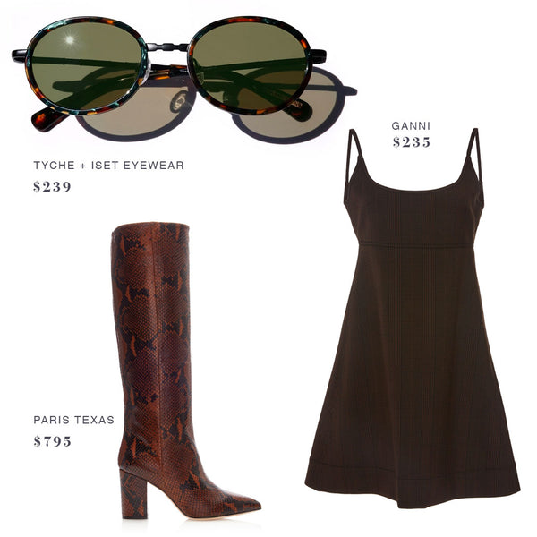 TYCHE + ISET EYEWEAR SUNGLASSES, GANNI DRESS, PARIS TEXAS BOOTS SHOES