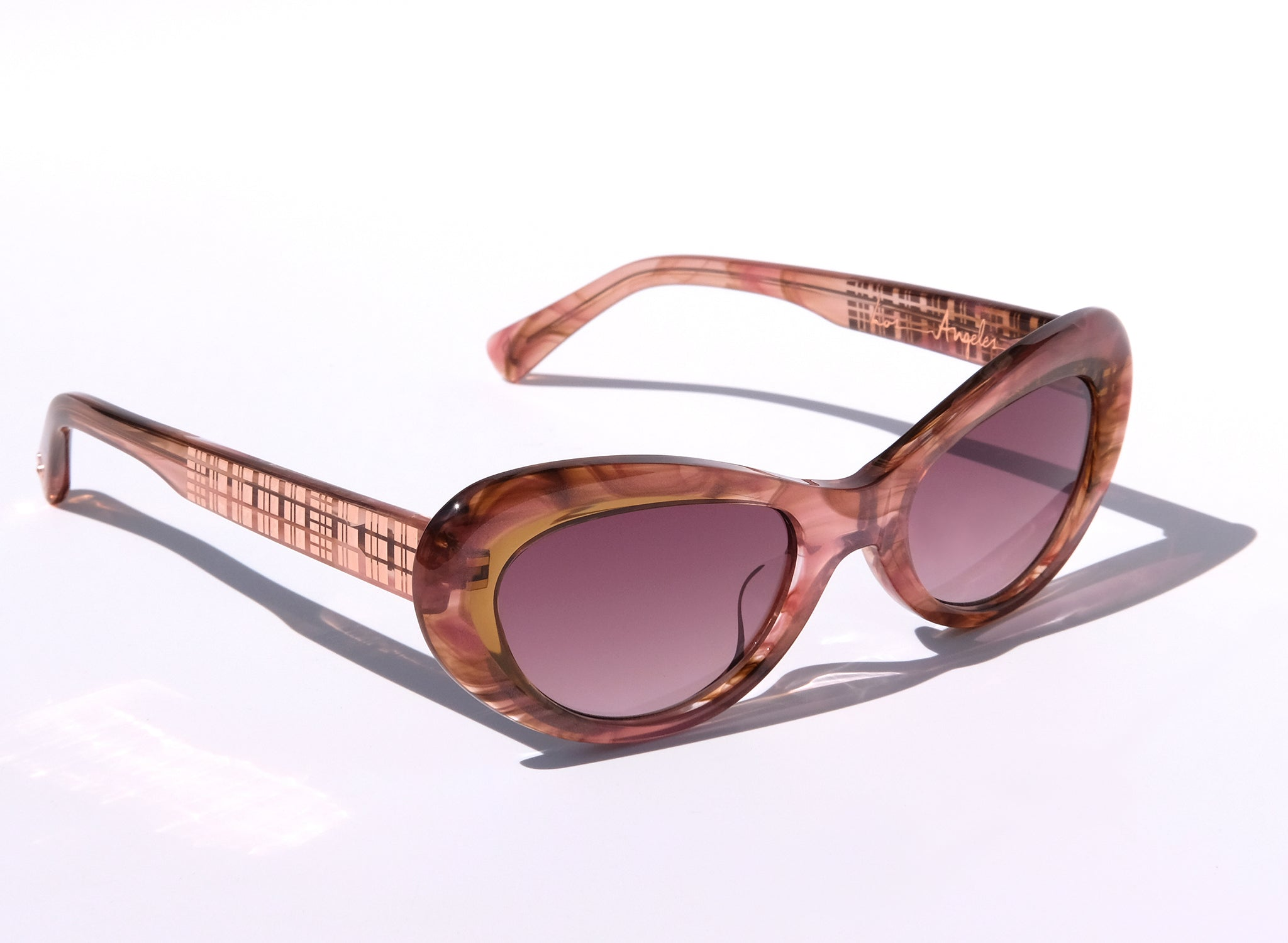 OCEANA IN HONEY SUNSET WITH METAL TEMPLE PATTERN, PINK CAT EYE SUNGLASSES