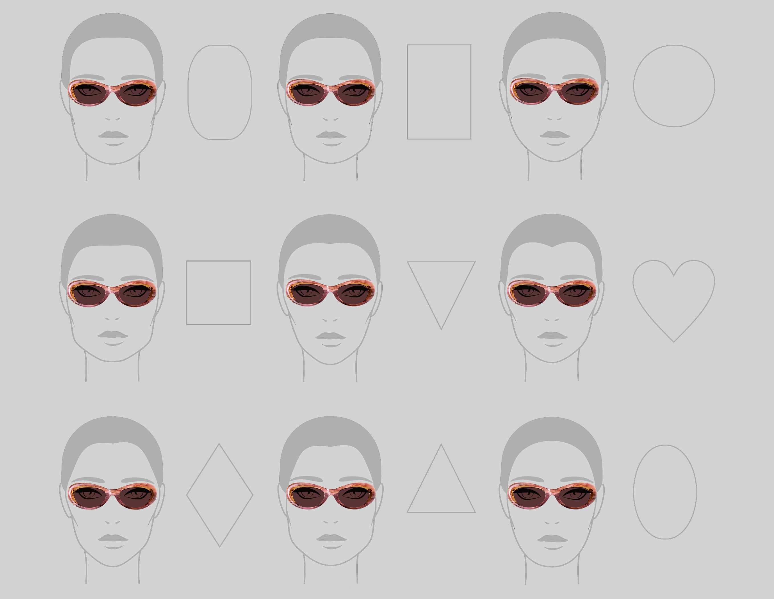 sunglasses, face shapes, sunglasses style guide, sunglasses face shape guide, cat eye sunglasses, pink sunglasses, tyche and iset, eyewear, designer eyewear, los angeles fashion, los angeles sunglasses