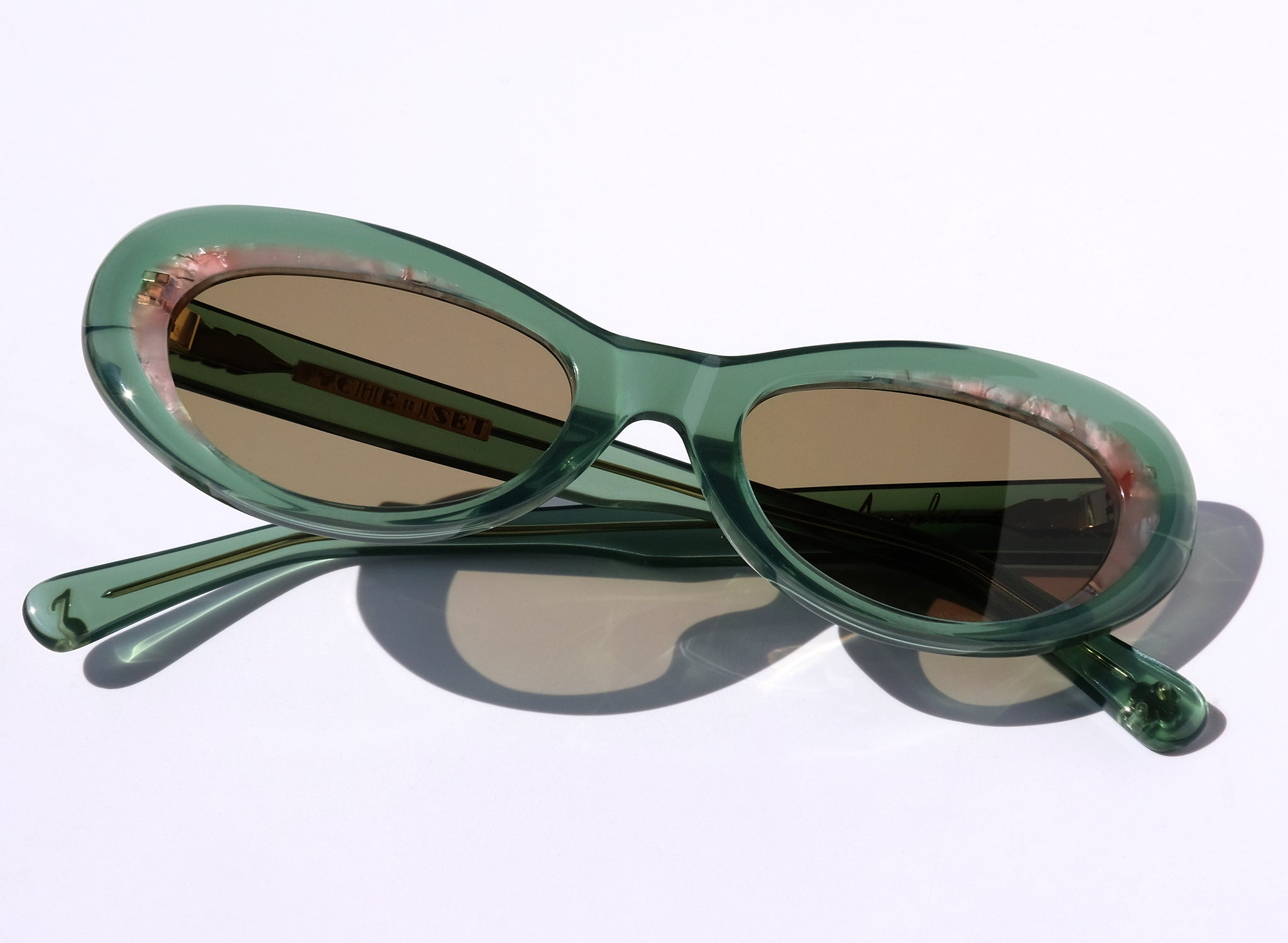 OCEANA IN WATERMELON, LIGHT GREEN AND PINK CAT EYE SUNGLASSES