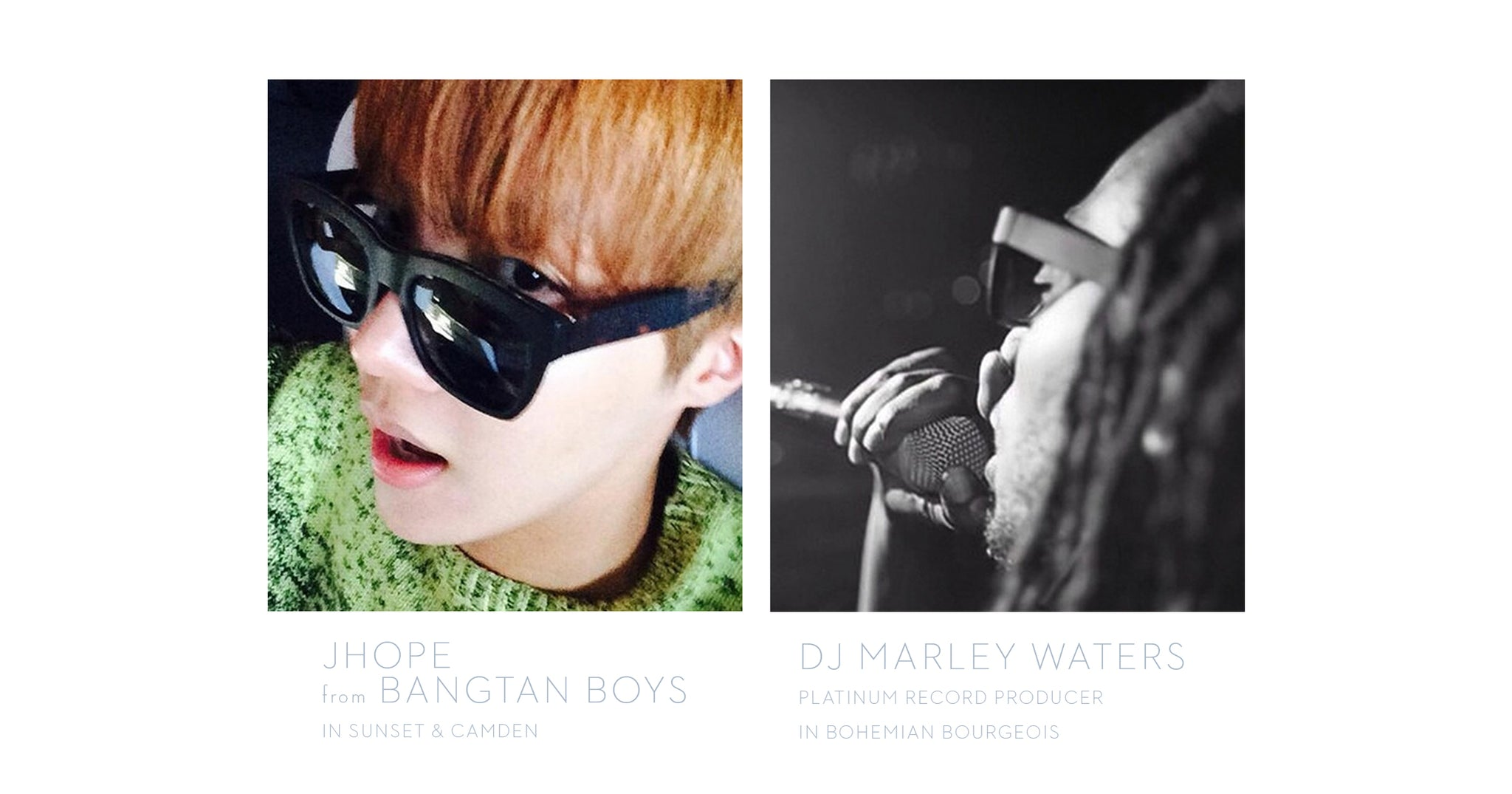 JHope from the Bangtan Boys wearing Sunset & Camden Sunglasses by Tyche & Iset Designer Eyewear