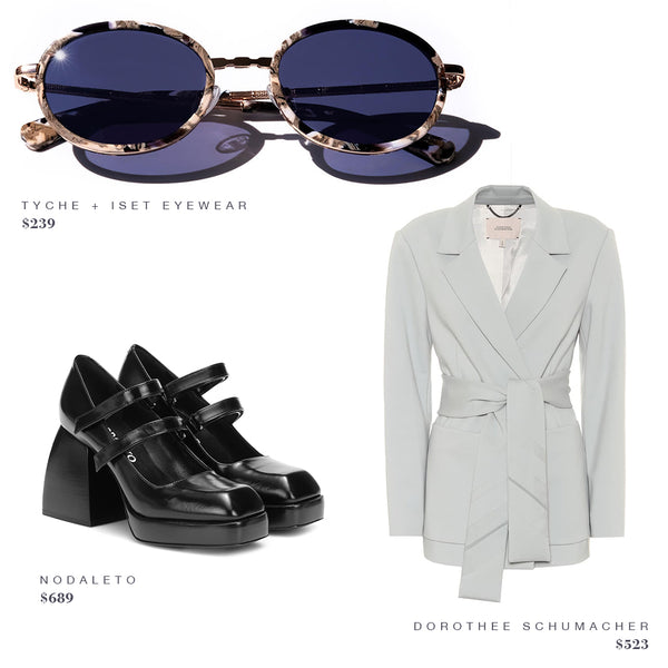 FASHION STYLE GUIDE: TYCHE + ISET EYEWEAR SUNGLASSES, NODALETO SHOES, DOROTHEE SCHUMACHER JACKET