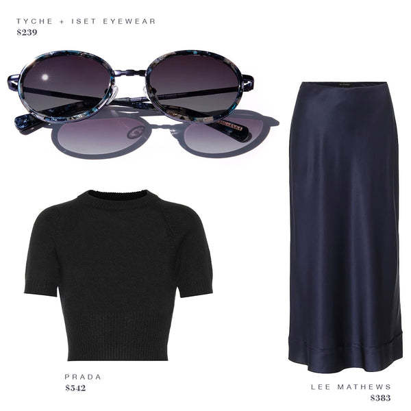 FASHION STYLE GUIDE: TYCHE + ISET EYEWEAR SUNGLASSES, PRADA BLACK SHIRT, LEE MATHEWS SKIRT