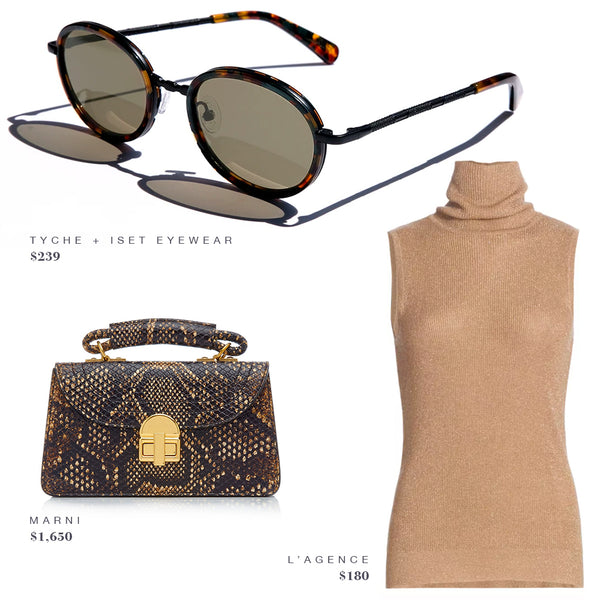 FASHION STYLE GUIDE INSPO: TYCHE + ISET EYEWEAR SUNGLASSES, MARNI HANDBAG PURSE, L'AGENCE TURTLENECK SWEATER SHIRT