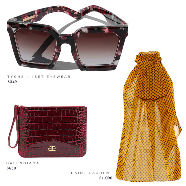 FASHION STYLE GUIDE INSPO: TYCHE + ISET EYEWEAR SUNGLASSES, BALENCIAGA PURSE. SAINT LAURENT SHIRT BLOUSE TOP