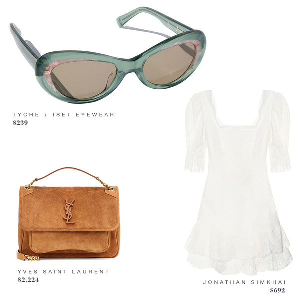 FASHION STYLE GUIDE: TYCHE + ISET SUNGLASSES, YVES SAINT LAURENT PURSE, JONATHAN SIMKHAI DRESS