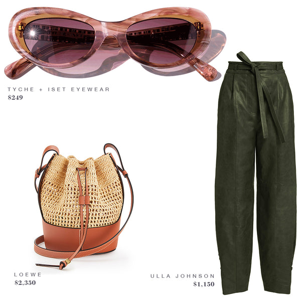 TYCHE + ISET EYEWEAR SUNGLASSES, ULLA JOHNSON PANTS, LOEWE PURSE. FASHION STYLE GUIDE INSPO