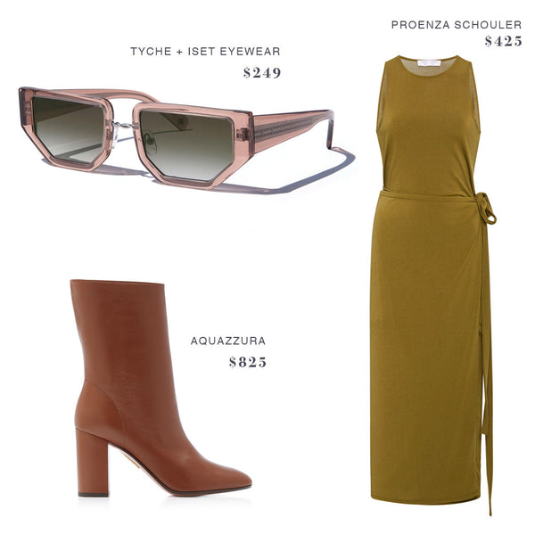 TYCHE + ISET EYEWEAR SUNGLASSES, PROENZA SCHOULER DRESS, AQUAZZURA BOOTS