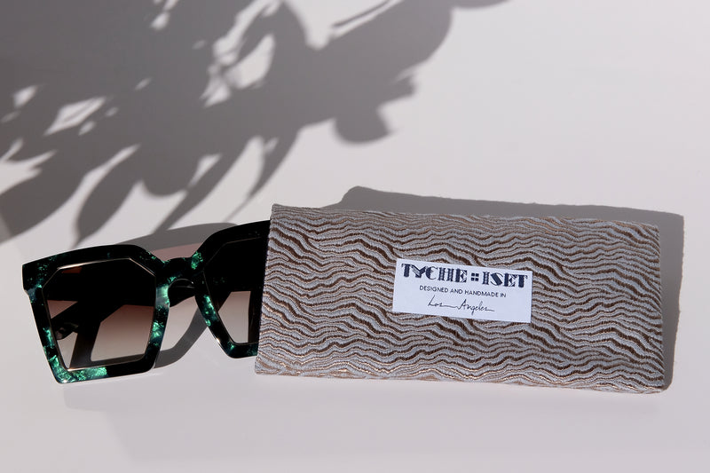 SUNGLASSES POUCH HANDMADE IN LOS ANGELES BY FEMALE ARTISANS. ECO-FRIENDLY, SUSTAINABLE, UPCYCLED FASHION, VINTAGE FABRICS, DEADSTOCK FABRICS, RARE FABRICS, RECYCLED FASHION. Waves, Sand Patterns, Clouds, Topography Maps
