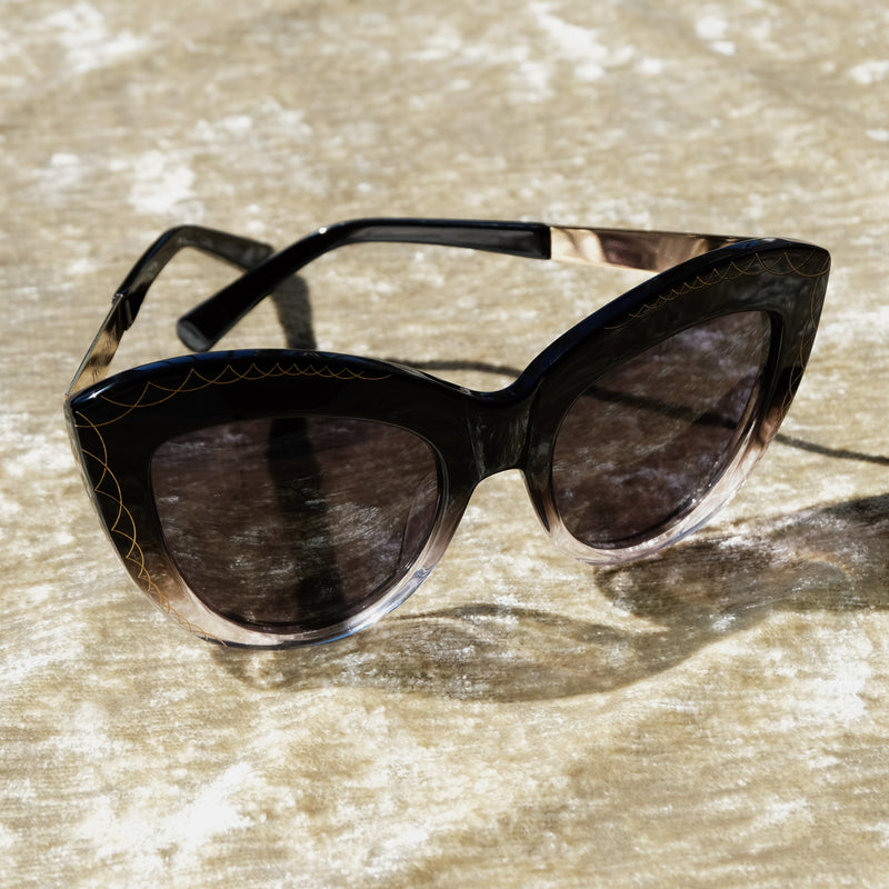 Premium-Quality Oversized Black Cat Eye Sunglasses, Art Deco Detailing