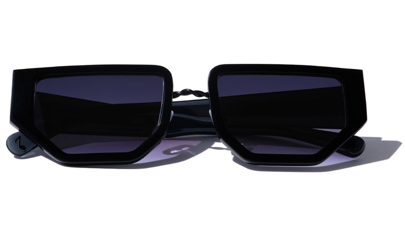 BLACK FUTURISTIC MODERN UNISEX SUNGLASSES, MATTE BLACK METAL DETAILS. DARK BLUE LENS. ART DECO DESIGN, LIMITED EDITION. DESIGNER EYEWEAR, LUXURY SUNGLASSES. CELEBRITY SUNGLASSES. FEMALE ENTREPRENEUR.