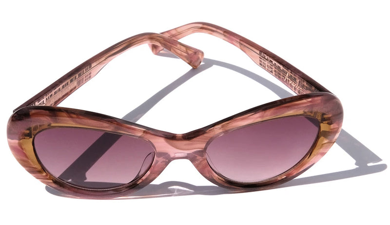 PINK AND CARAMEL BROWN ACCENTS CLASSIC CAT EYE SUNGLASSES, ROSE GOLD METAL DETAILS. MAROON LENS. ART DECO DESIGN, LIMITED EDITION. DESIGNER EYEWEAR, LUXURY SUNGLASSES. CELEBRITY SUNGLASSES. FEMALE ENTREPRENEUR.