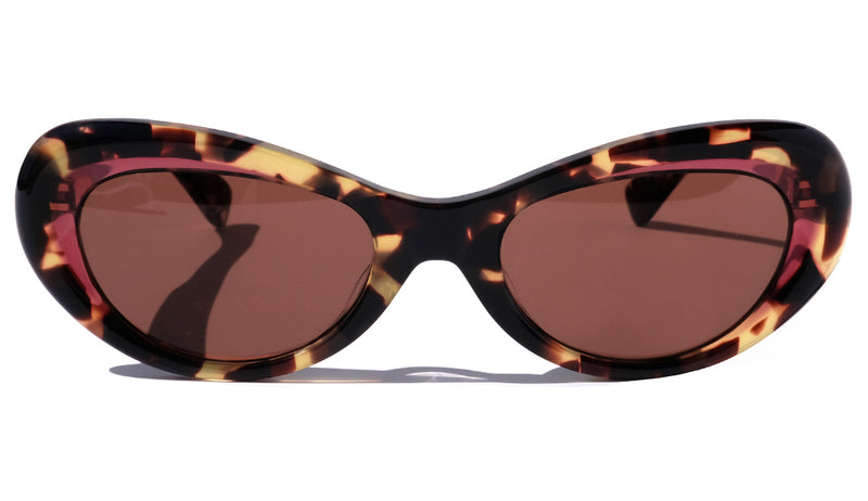 BROWN TORTOISE AND MAROON ACCENTS CLASSIC CAT EYE SUNGLASSES, GOLD METAL DETAILS. RED-BROWN LENS. ART DECO DESIGN, LIMITED EDITION. DESIGNER EYEWEAR, LUXURY SUNGLASSES. CELEBRITY SUNGLASSES. FEMALE ENTREPRENEUR.