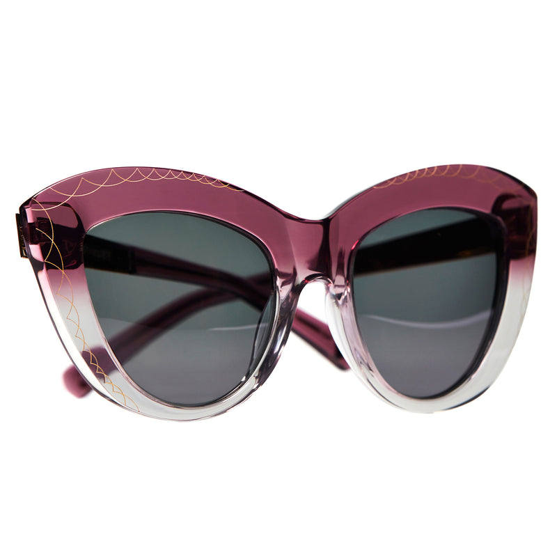 OVERSIZED MAGENTA PINK CAT EYE SUNGLASSES, GOLD METAL DETAILS. GREY LENS. ART DECO DESIGN, LIMITED EDITION. DESIGNER EYEWEAR, LUXURY SUNGLASSES. CELEBRITY SUNGLASSES. FEMALE ENTREPRENEUR.