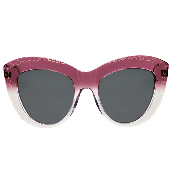 Premium-Quality Oversized Magenta Pink Purple Cat Eye Sunglasses, Art Deco Detailing