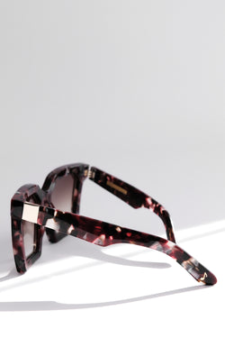 RED MAROON OVERSIZED SQUARE UNISEX SUNGLASSES, GOLD METAL DETAILS. BROWN GRADIENT LENS. ART DECO DESIGN, LIMITED EDITION. DESIGNER EYEWEAR, LUXURY SUNGLASSES. CELEBRITY SUNGLASSES. FEMALE ENTREPRENEUR.