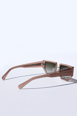 NUDE LIGHT BROWN TAN FUTURISTIC MODERN UNISEX SUNGLASSES, OLIVE GREEN GRADIENT LENS, SILVER METAL DETAILS. DEEP MAROON PURPLE LENS. ART DECO DESIGN, LIMITED EDITION. DESIGNER EYEWEAR, LUXURY SUNGLASSES. CELEBRITY SUNGLASSES. FEMALE ENTREPRENEUR.