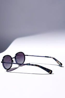NAVY BLUE CLASSIC UNISEX OVAL SUNGLASSES, BLUE METAL DETAILS. BLUE GRADIENT LENS. ART DECO DESIGN, LIMITED EDITION. DESIGNER EYEWEAR, LUXURY SUNGLASSES. CELEBRITY SUNGLASSES. FEMALE ENTREPRENEUR.