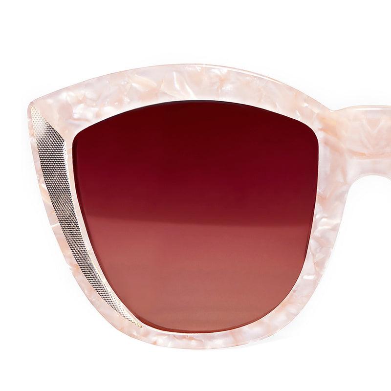 OVERSIZED PEARL ROUND CAT EYE SUNGLASSES, PINK LENS