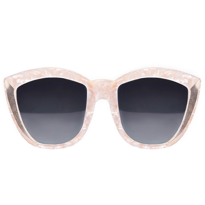 OVERSIZED PEARL ROUND CAT EYE SUNGLASSES, GREY LENS