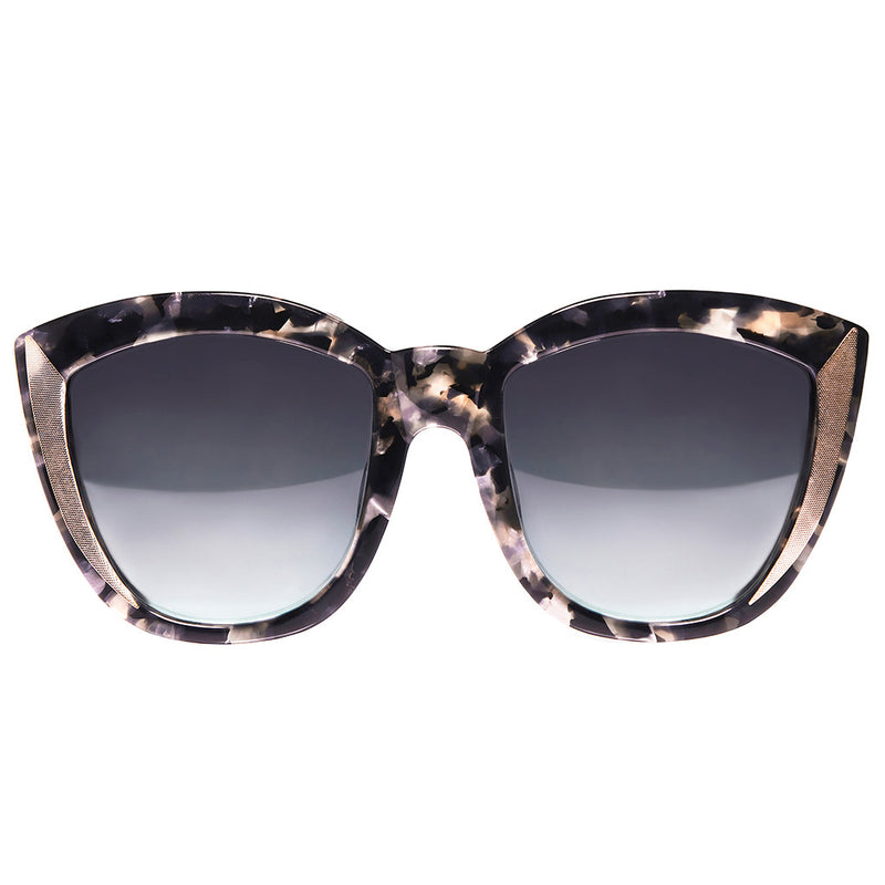 OVERSIZED BLACK SPECKLED ROUND CAT EYE SUNGLASSES