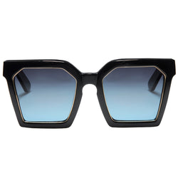 OVERSIZED BLACK SQUARE SUNGLASSES, BLUE GRADIENT LENS.