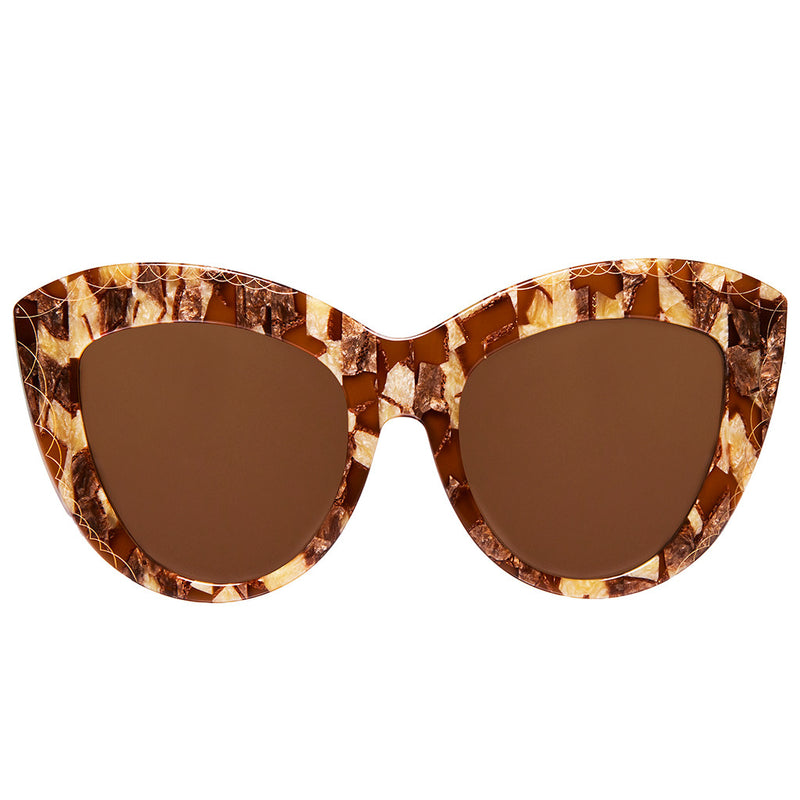 OVERSIZED MULTI BROWN COLOR CAT EYE SUNGLASSES, GOLD METAL DETAILS. BROWN LENS. ART DECO DESIGN, LIMITED EDITION. DESIGNER EYEWEAR, LUXURY SUNGLASSES. CELEBRITY SUNGLASSES. FEMALE ENTREPRENEUR.
