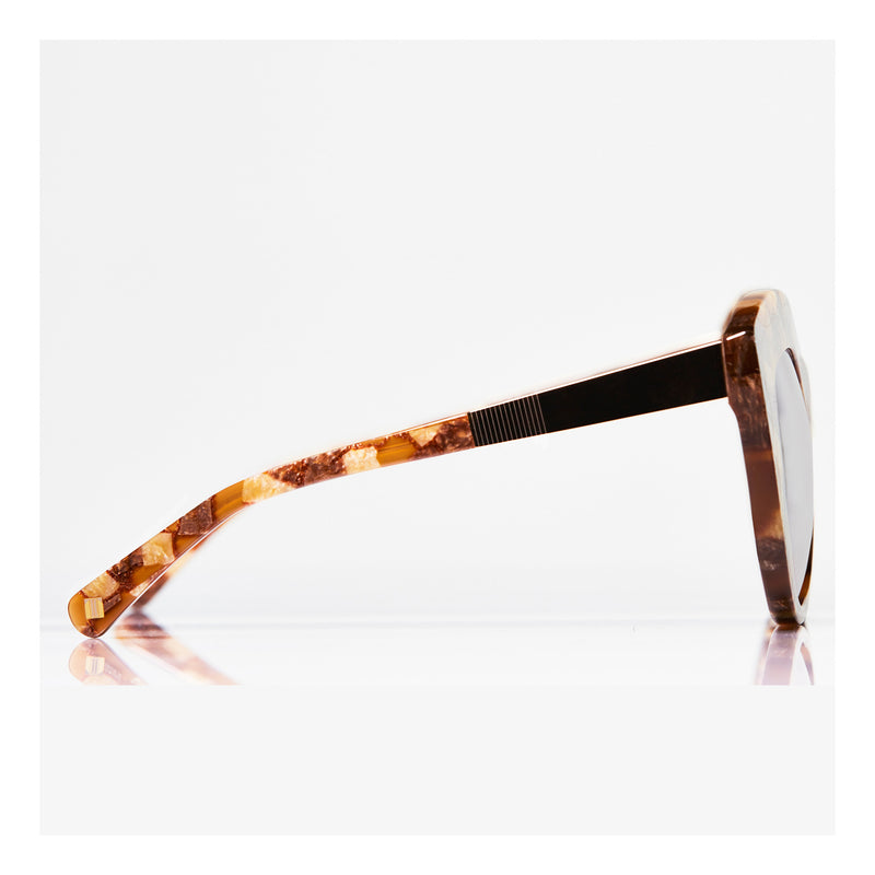 Premium-Quality Oversized Caramel Brown Multi Cat Eye Sunglasses, Art Deco Detailing