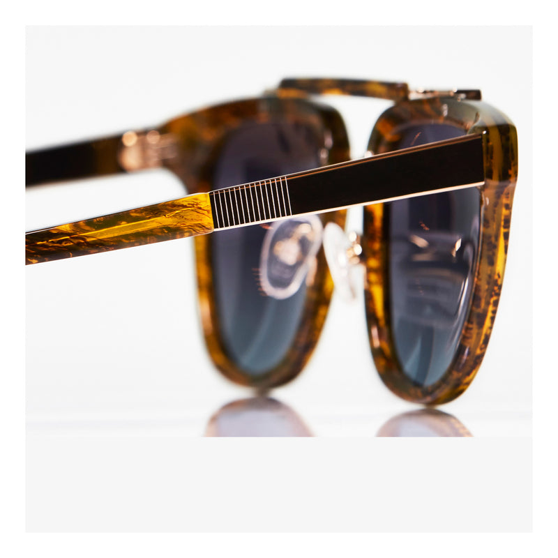 BROWN CLASSIC UNISEX ROUND SUNGLASSES, GOLD METAL DETAILS. GREY-BLUE LENS. ART DECO DESIGN, LIMITED EDITION. DESIGNER EYEWEAR, LUXURY SUNGLASSES. CELEBRITY SUNGLASSES. FEMALE ENTREPRENEUR.