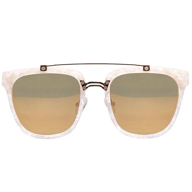 PEARL WHITE CLASSIC UNISEX ROUND SUNGLASSES, GOLD METAL DETAILS. GOLD MIRROR LENS. ART DECO DESIGN, LIMITED EDITION. DESIGNER EYEWEAR, LUXURY SUNGLASSES. CELEBRITY SUNGLASSES. FEMALE ENTREPRENEUR.