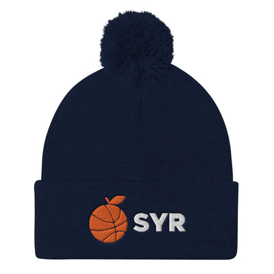 'Orange Basketball SYR' Pom Pom Knit Cap