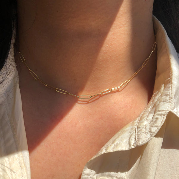 Gold Long Link Necklace