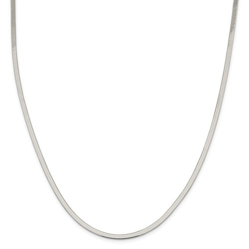Sterling Silver Herringbone Necklace - 3mm