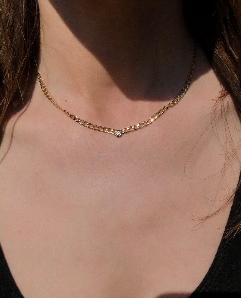 Diamond Curb Chain Necklace