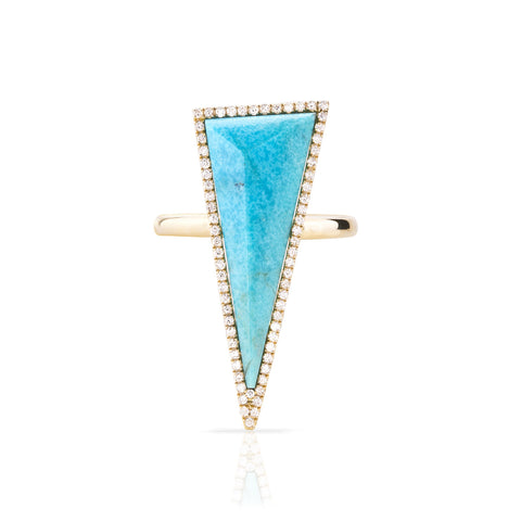 Pave Diamond Pyramid Stone Ring (more colors available)