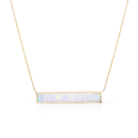 Solid Gold Stone Bar Necklace (more colors available)