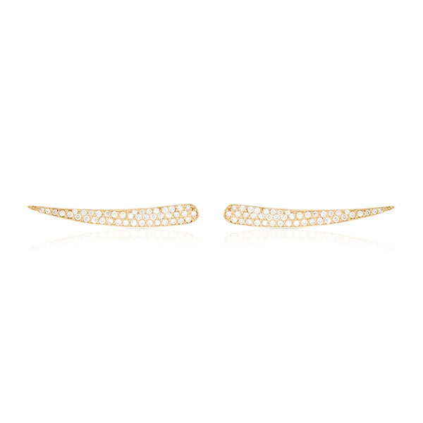 Pave Diamond Solid Skimmer Earring