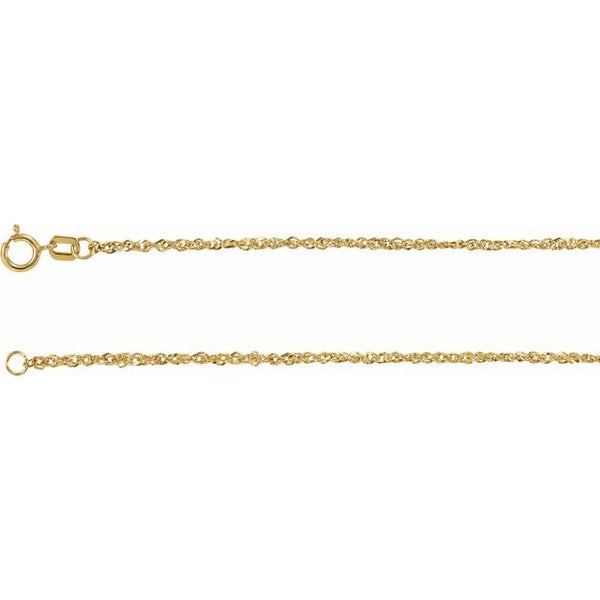Gold Diamond Cut Singapore Chain
