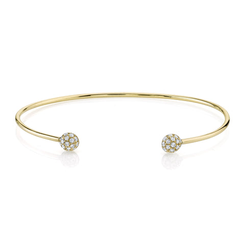 Open Pave Diamond Orb Cuff