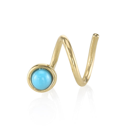 Turquoise Ball Spiral Earring