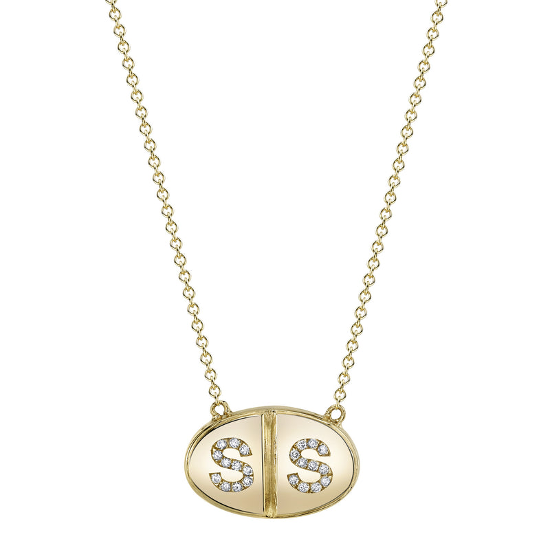Diamond Pill Initial Necklace