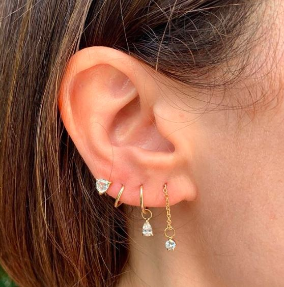 White Topaz Trillion Spiral Earring